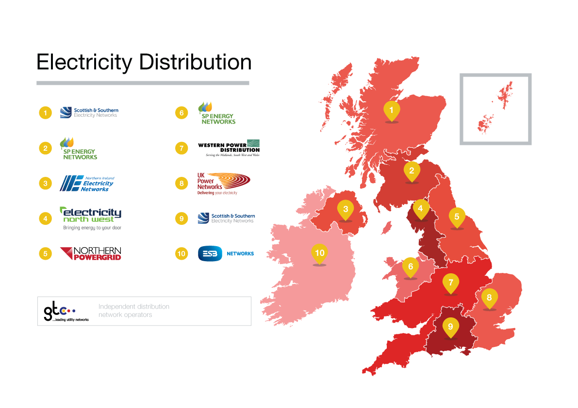 Map of electricity distributors
