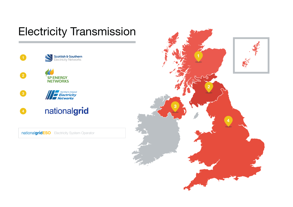 Map of electricity transmission companies in Great Britain