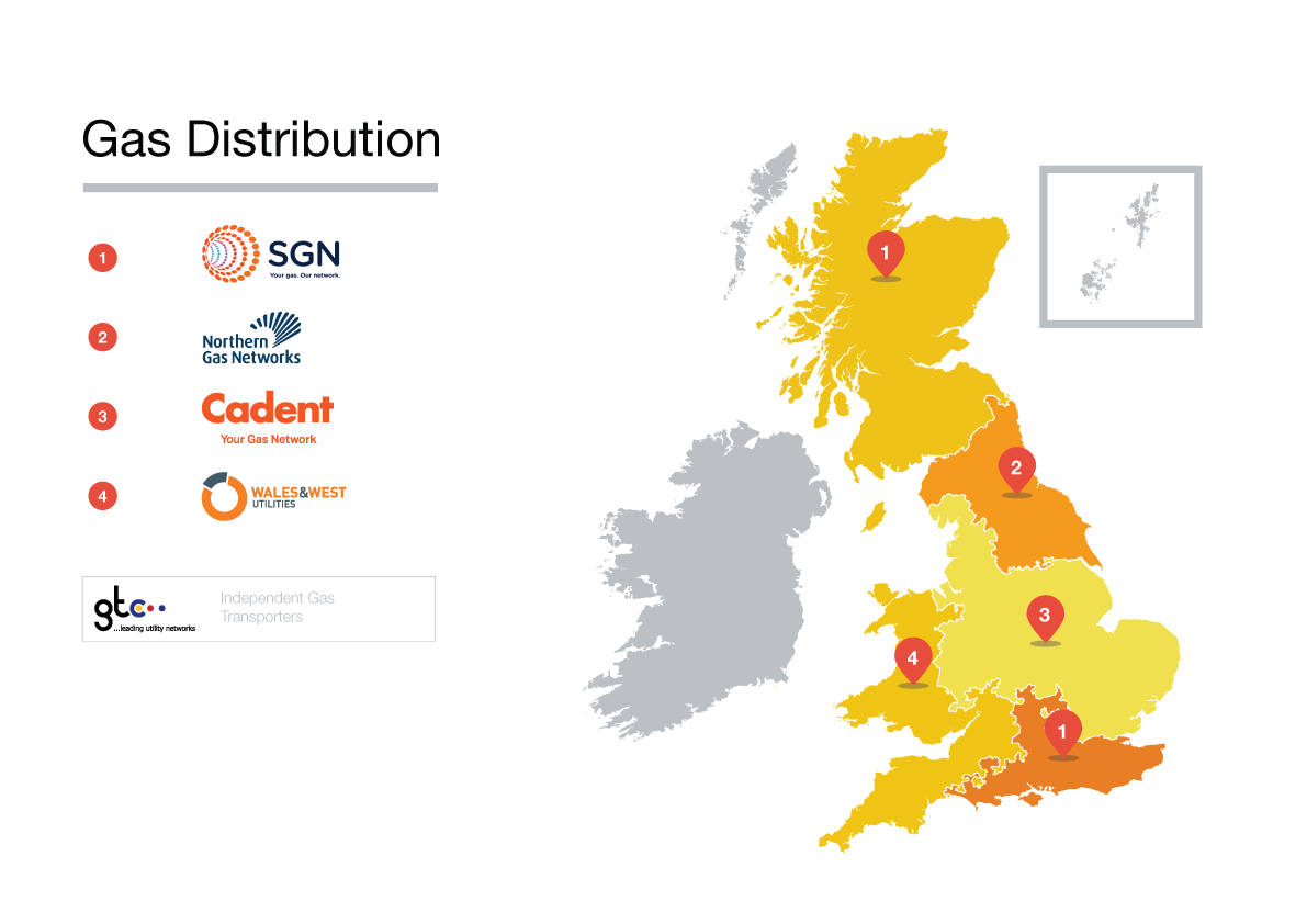 Map of gas distributors in Great Britain